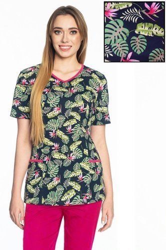 100% cotton scrubs top BD3, palm leaves and flowers