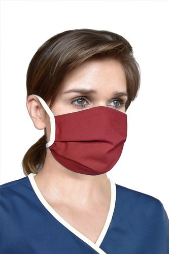 Reusable protective mask with drawstrings, burgundy