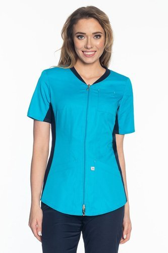Scrubs jacket with ELASTIC SIDE PANELS ZE1-T, turquoise