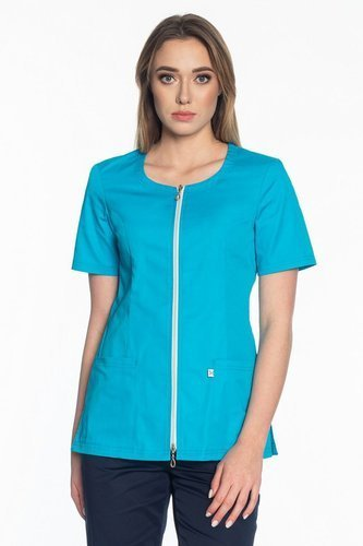 Scrubs jacket with a zipper ZC1-T, turquoise