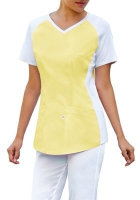 Scrubs top with ELASTIC KNITWEAR BE2-Z, pastel yellow