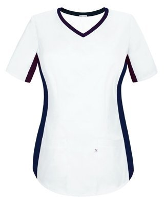 Scrubs top with ELASTIC SIDE PANELS BE1-B, white