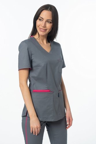 Scrubs top with ELASTIC SIDE PANELS BE1-F, fuchsia