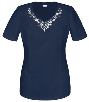 Scrubs top with EMBROIDERY BH1-G, navy blue