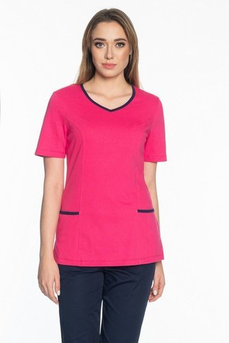 Scrubs top with trimming, pink, BD1-R