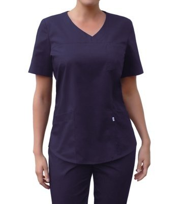 V-neck scrubs top, dark blue, BC3-G