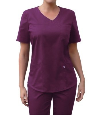 V-neck scrubs top, plum, BC3-SL
