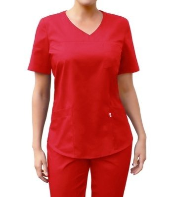 V-neck scrubs top, red, BC3-Cz