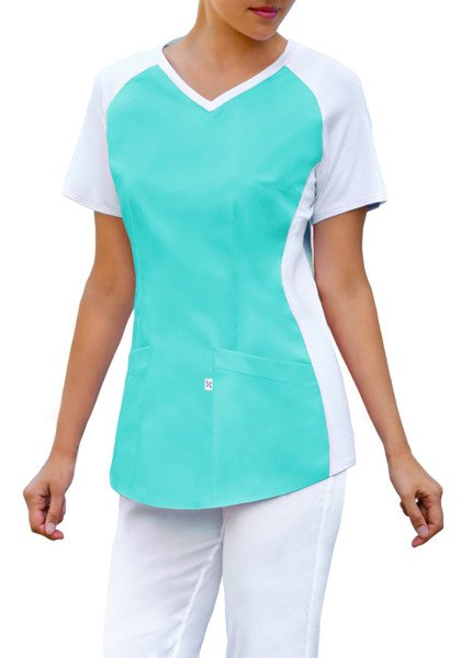 Scrubs top with ELASTIC KNITWEAR BE2-JT, light turquoise
