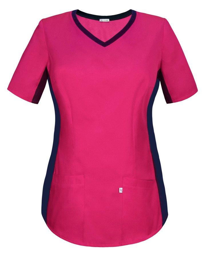 Bluza medyczna damska Z ELASTYCZNYM ŚCIĄGACZEM w boku, kolor fuksja, BE1 F